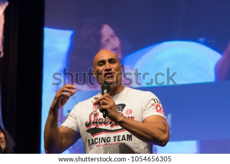 BONN, GERMANY - MARCH 24: Actor/Stuntman Shane Rangi (Narnia, Spartacus, Hobbit, Lord of the Rings), panel, at MagicCon, a three-day (March 23-25 2018) fantasy & mystery fan convention.
