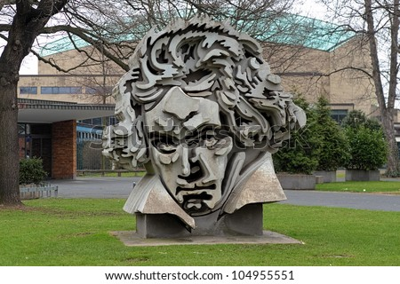 BONN, GERMANY - MARCH 14: Beethon - sculpture of Beethoven on March 14, 2012 in Bonn, Germany. Sculpture made by the Klaus Kammerichs on 1986 and has become a modern mark of the Beethoven-City Bonn. - stock photo