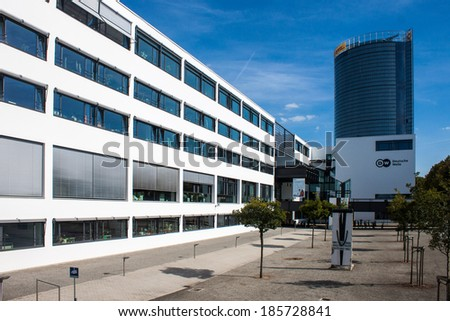 BONN, GERMANY - SEPTEMBER 9: Former government buildings on September 9, 2012 in Bonn, Germany. Some of them are now used by Deutsche Welle or Deutsche Post companies.