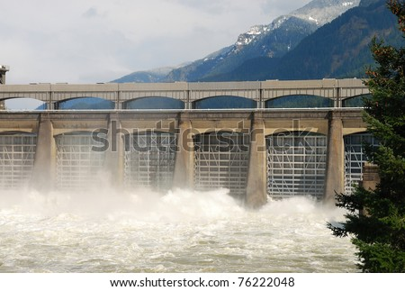 Bonneville dam spillway on the Columbia River - stock photo
