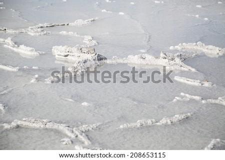 Bonneville Salt Flats after a wet rain storm - stock photo