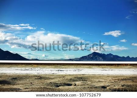 Bonneville Salt Flats mountains in Salt Lake City, Utah - stock photo