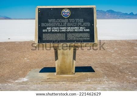 Bonneville Salt Flats Sign. Utah, United States. Salt Lake Bed Landscape. - stock photo