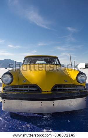 BONNEVILLE SALT FLATS, UT, SEPTEMBER 8: Front side of a yellow American Hot Rod during the World of Speed. USA 2012. - stock photo