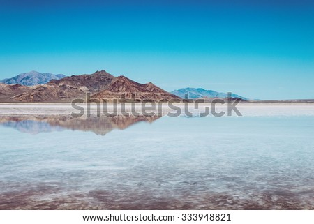 Bonneville Salt Flats, Utah USA - stock photo