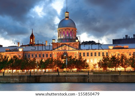 Bonsecours Market at sunset on street in Old Montreal in Canada - stock photo