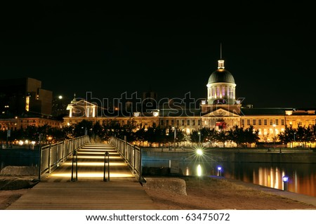 Bonsecours market - Old Port of Montreal by night - stock photo