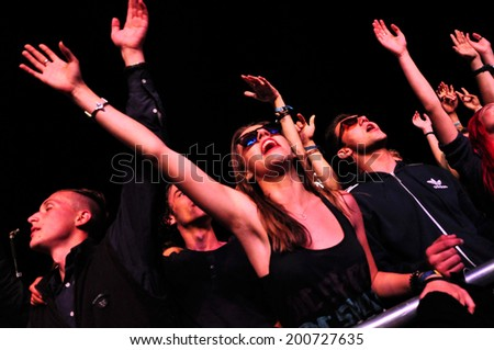 BONTIDA - JUNE 22: Crowd of partying people during a live concert at Electric Castle Festival on June 22, 2014 in the Banffy castle in Bontida, Romania - stock photo