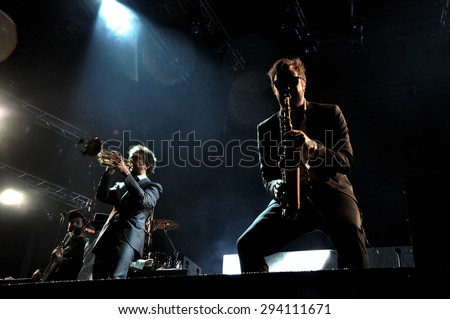 BONTIDA - JUNE 26, 2015: The Parov Stelar Band performs live at the main stage of the Electric Castle Festival at June 26, 2015 in the Banffy castle in Bontida, Romania - stock photo