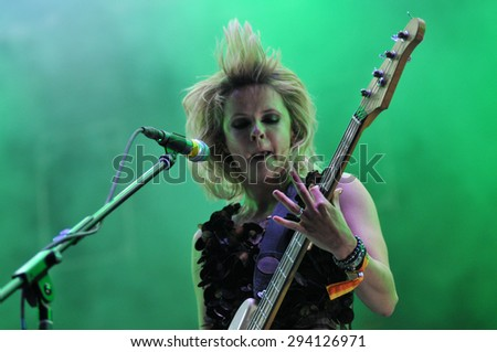 BONTIDA - JUNE 28, 2015: The Subways band from Great Britain performing live at the main stage of the Electric Castle Festival at June 28, 2015 in the Banffy castle in Bontida, Romania - stock photo
