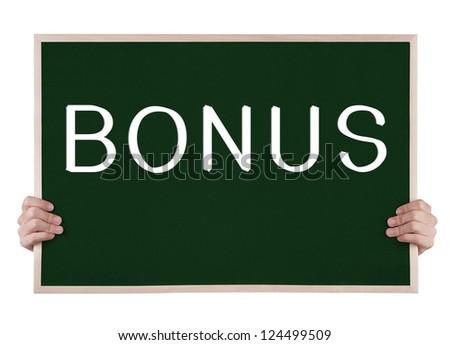 bonus  on blackboard with hands - stock photo