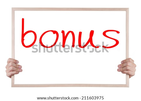 bonus  on whiteboard with hands - stock photo