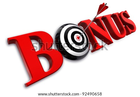 bonus red word and conceptual target with arrow on white background