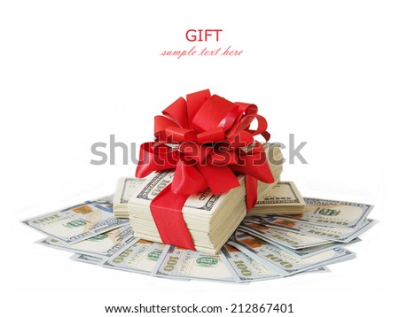 Bonus Stack of Cash With Red Bow Isolated on White Background - stock photo