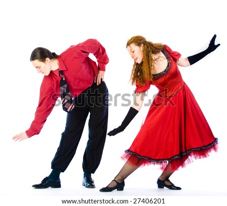 Boogie-voogie dancers on white background - stock photo