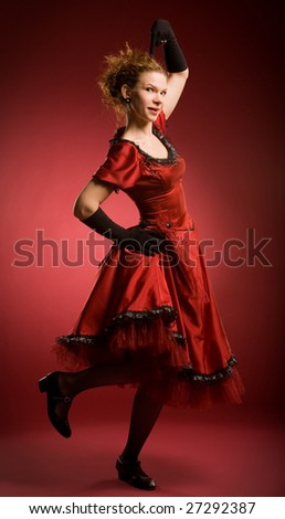 Boogie-woogie dancer on red background - stock photo
