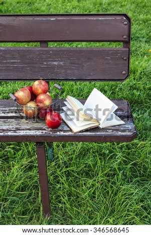 Book and apples on the bench in the garden - stock photo