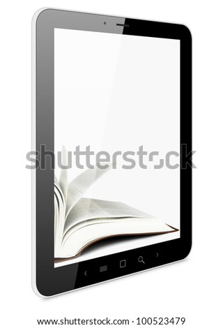 Book and computer, 3D model isolated on white, digital library concept