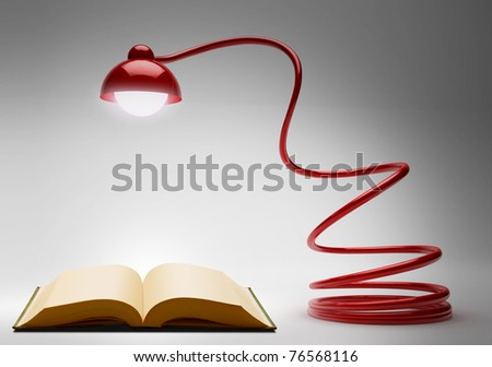 Book and desk light - facing down. head of lamp is focus. - stock photo