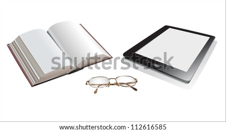 book and ebook-reader. - stock photo