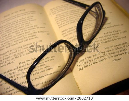 book and glasses - stock photo