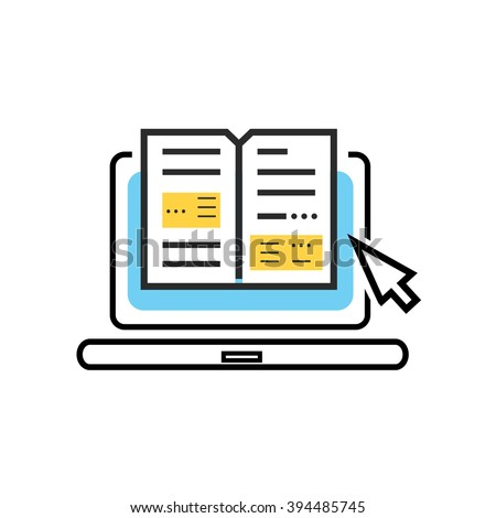 Book and laptop logo. Online book, digital library concept. Laptop computer with book inside. Isolated logo book laptop icon. E-learning internet labrary. Education  illustration. Thin line icon - stock photo