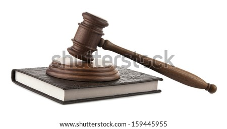 book and mallet on a white background. picture from series. - stock photo