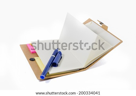 book and pen isolated on white background