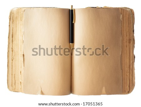Book and Pen on white - stock photo