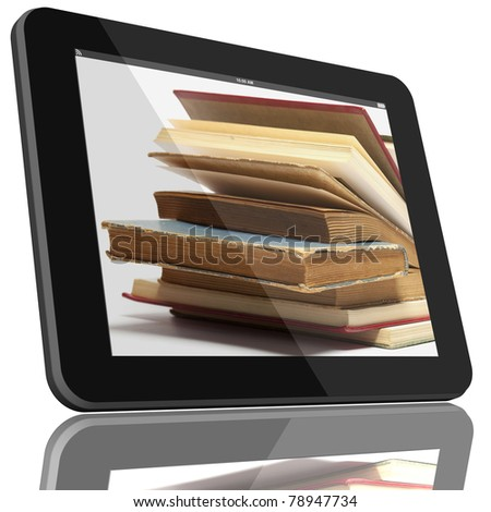 Book and tablet computer 3D model isolated on white, digital library concept, Objects with Clipping Paths - stock photo