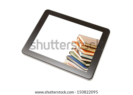 Book and tablet computer isolated on white. - stock photo
