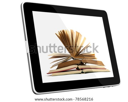 Book and teblet computer 3D model isolated on white - stock photo