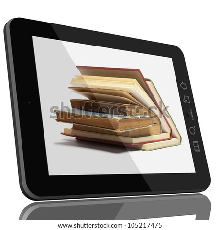Book and teblet computer 3D model isolated on white, digital library concept - stock photo