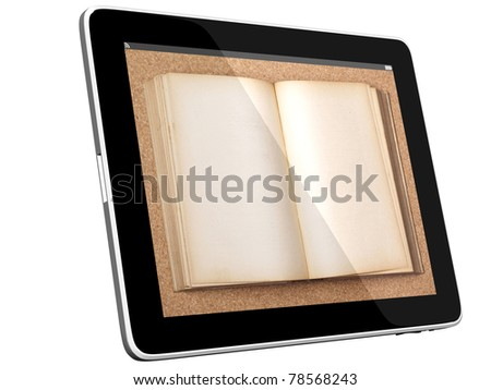 Book and teblet computer 3D model isolated on white, digital library concept, Objects with Clipping Paths - stock photo