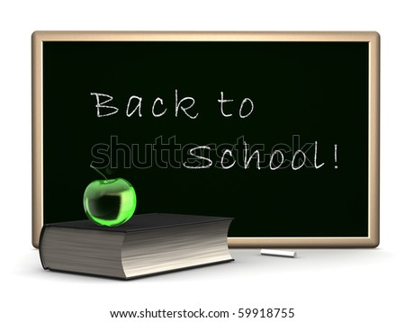 book, apple and blackboard. - stock photo
