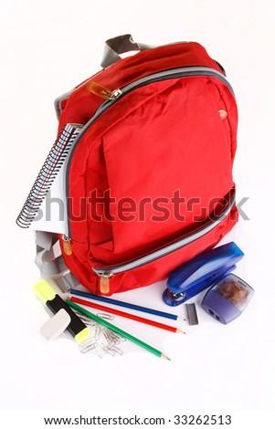 book bag of school supplies - stock photo