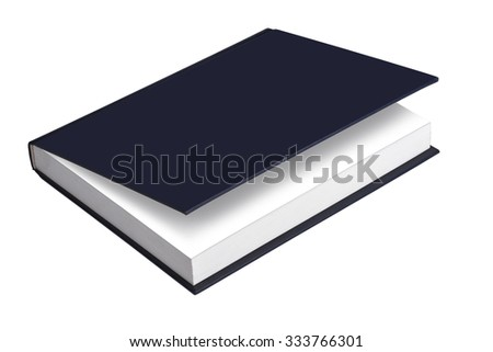 Book, blank book with blue, ajar cover - stock photo