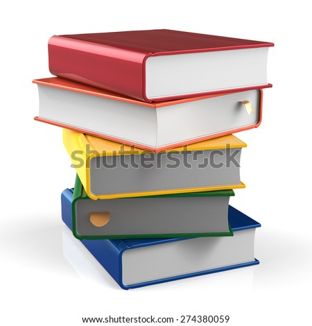 Book blank stack of books covers colorful five textbook bookmark. School studying information content learn icon concept. 3d render isolated on white background - stock photo