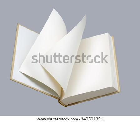 Book, blank, white ajar coverpage and pages - stock photo