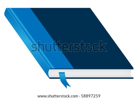 Book. Blue and closed with a bookmark isolated on a white background. Ample space to add copy text on the cover. Vector also available. - stock photo