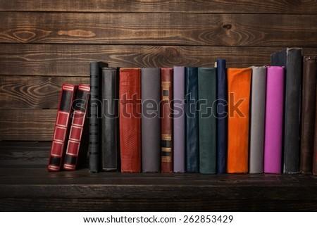 Book, bookshelf, shelf. - stock photo