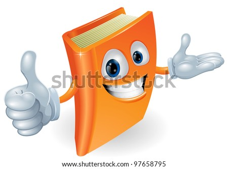 Book cartoon character mascot giving a thumbs up - stock photo