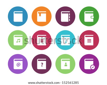 Book circle icons on white background. See also vector version. - stock photo