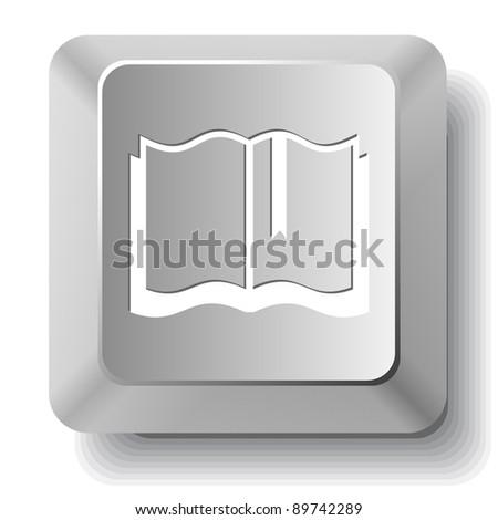 Book. Computer key. Raster illustration. - stock photo