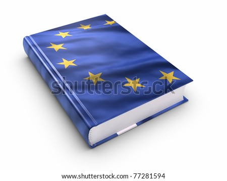 Book covered with European union flag. Clipping path included. - stock photo