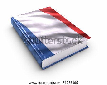 Book covered with French flag. Clipping path included. - stock photo