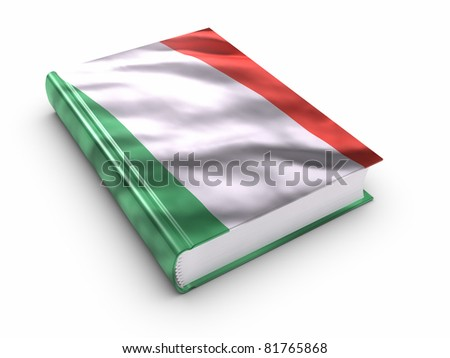 Book covered with Italian flag. Clipping path included. - stock photo