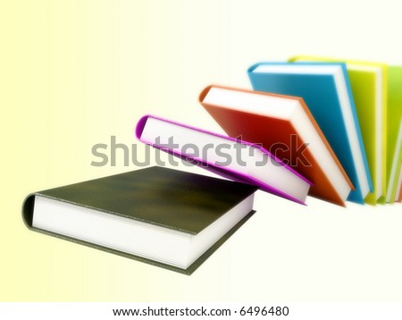 Book 3d render illustration isolated on abstract background. Back to school. Education, university, college symbol or knowledge, books stack, publish, page paper. Design element