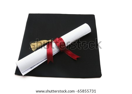 book, diploma and graduation cap isolated on white - stock photo
