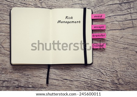 book for notice with words risk management, avoid, accept, transfer and reduce on the wooden background. business concept - stock photo